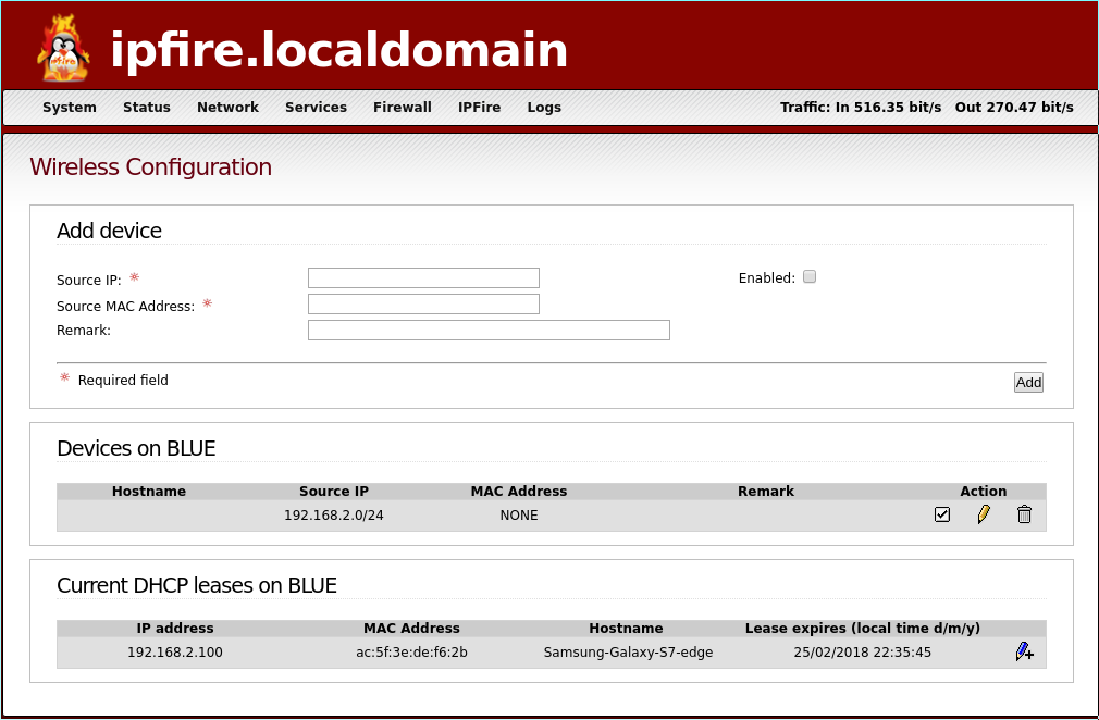 IPFire WiFi (blue interface) configuration instructions